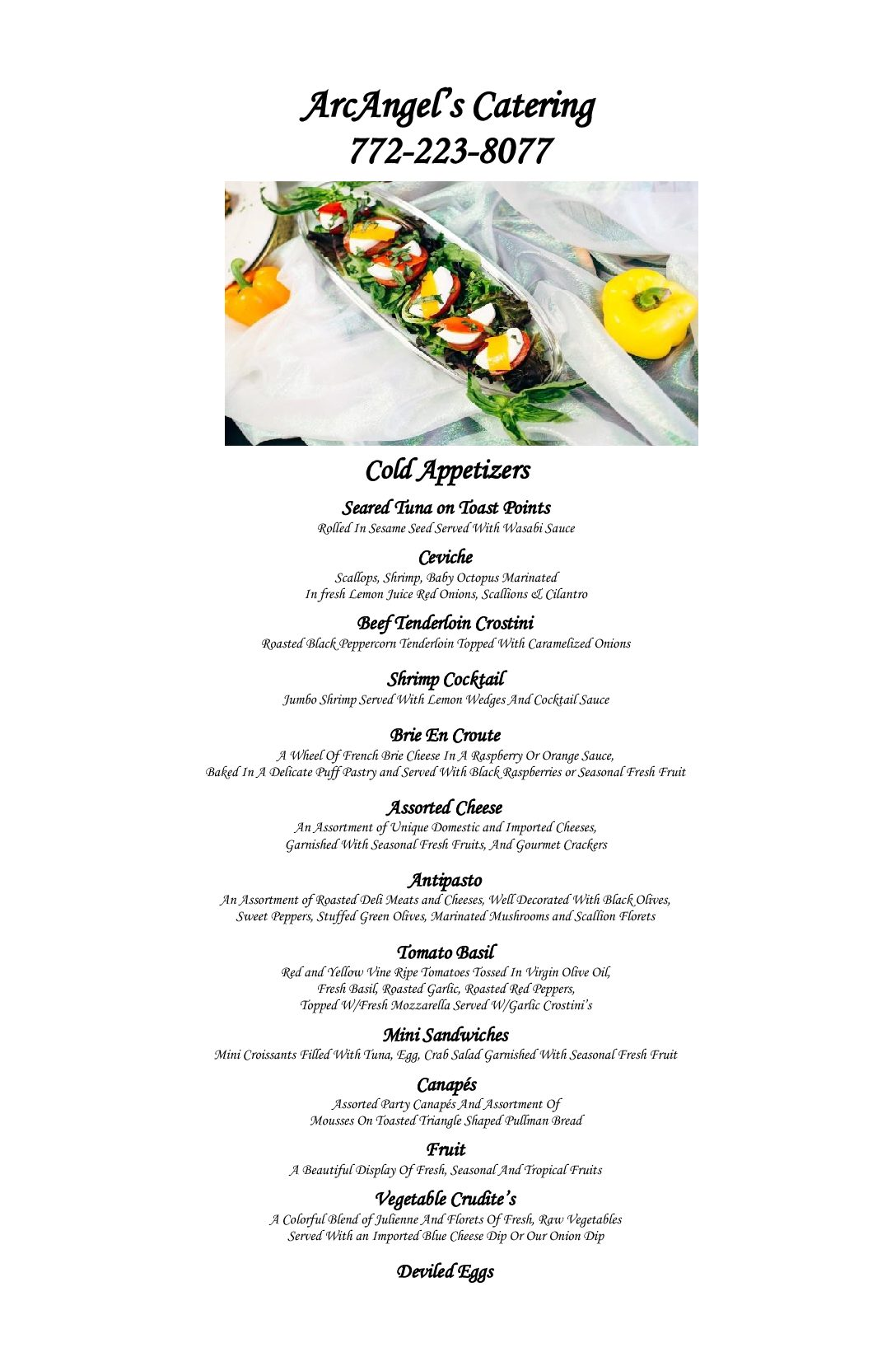 WEBSITE COLD APPETIZER MENU